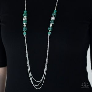 Opaque Green Beaded Necklace Earring Set NWT